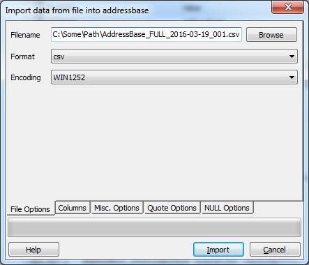 AddressBase Import Options 1