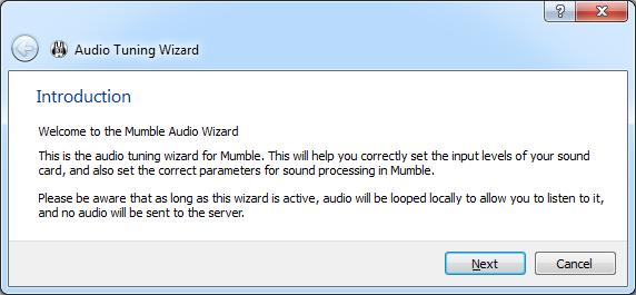 Mumble Audio Tuning Wizard
