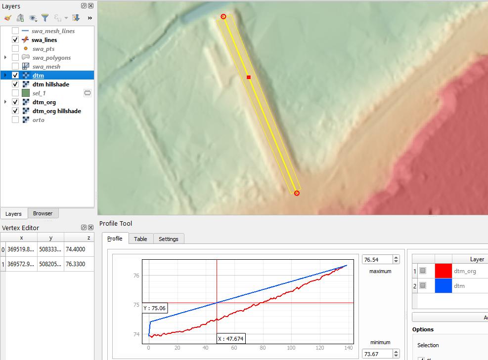 Raising embankment elevation based on 3D profile line